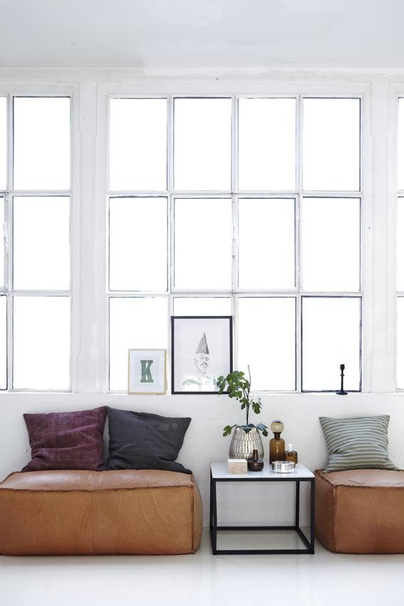 house doctor nicolas vahe bloomingville pouf aus edlem leder 120x60x45 cm house doctor. Black Bedroom Furniture Sets. Home Design Ideas