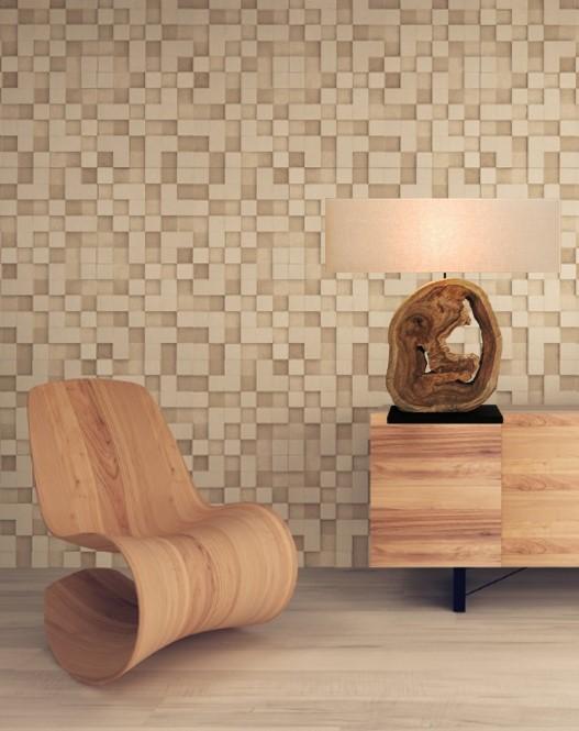 Massive Tischlampe PURE NATURE 45cm braun gold Holz Tischleuchte Nachttischlampe