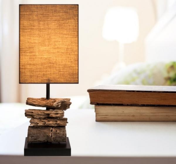 Détails sur bois flottant Lampe Drift Wood Lampadaire avec Noble teakbasis  env. 45 cm GI